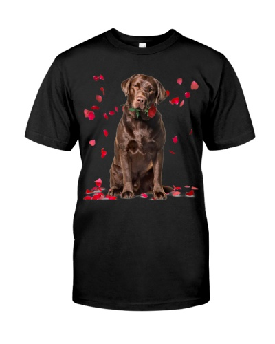 Chocolate Labrador Raining Red Roses