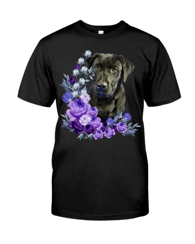 Black Labrador-Purple Flower Stems