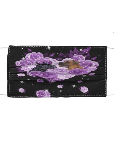 Cane Corso Purple Flower Heart Face