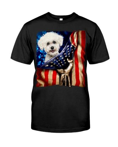 Bichon Frise American Flag-Front