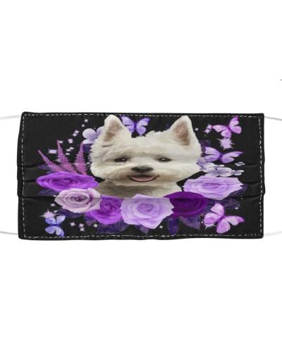 West Highland White Terrier Purple Flower Face