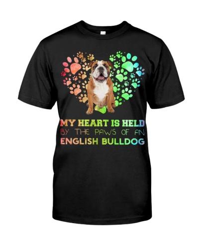 English Bulldog Heart Paw