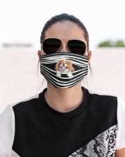 Cavalier King Charles Spaniel Stripes FM Cloth face mask aos-face-mask-lifestyle-02