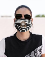 Lhasa Apso Stripes FM Cloth face mask aos-face-mask-lifestyle-02