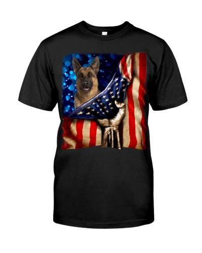 German Shepherd American Flag-Front