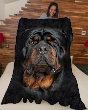 "Rottweiler Face 3D Large Fleece Blanket - 60"" x 80"" aos-coral-fleece-blanket-60x80-lifestyle-front-04"
