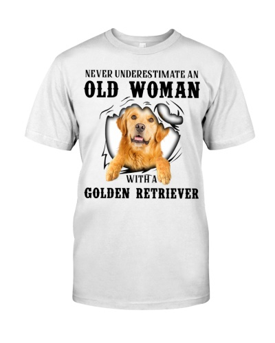 Old Woman With A Golden Retriever