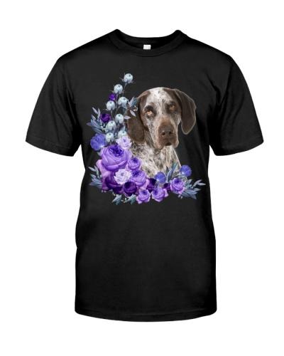 German Shorthaired Pointer-Purple Flower Stems