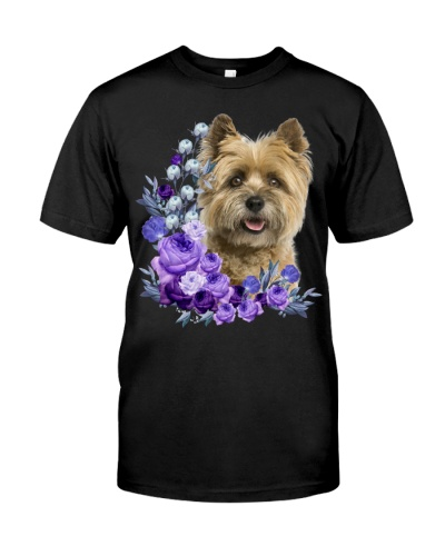 Cairn Terrier-Purple Flower Stems