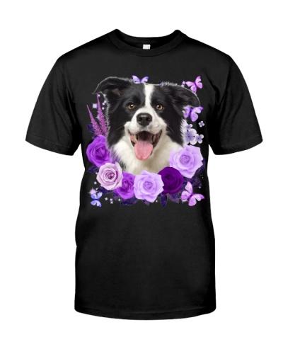 Border Collie-Purple Flower
