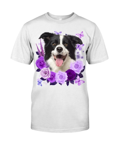 Border Collie-Purple Flower
