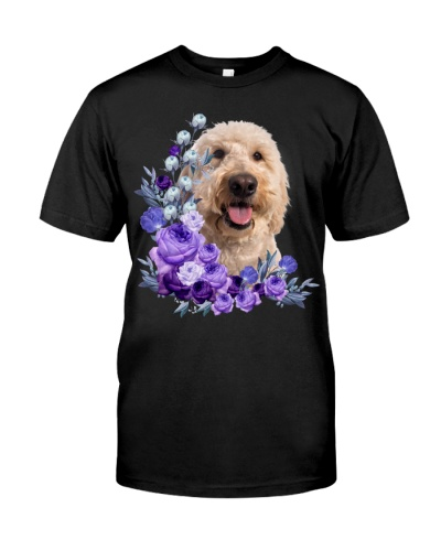 Goldendoodle-Purple Flower Stems