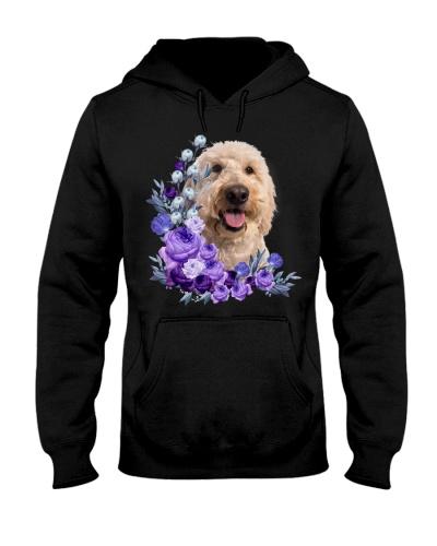Goldendoodle-Purple Flower Stems