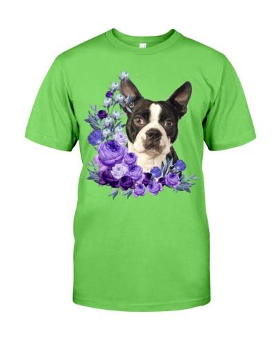 Boston Terrier-Purple Flower Stems