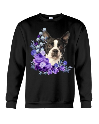 Boston Terrier-Purple Flower Stems