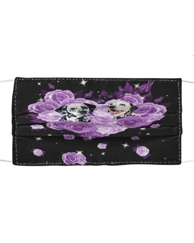 Dalmatian Purple Flower Heart Face