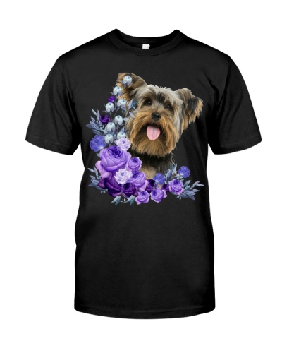 Yorkshire Terrier-Purple Flower Stems