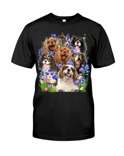 Cavalier King Charles Spaniel Purple Flowers