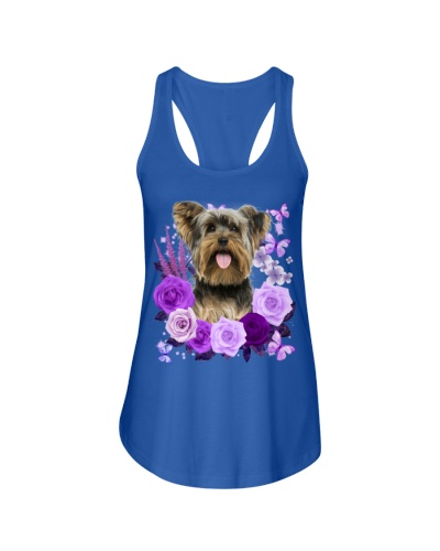 Yorkshire Terrier Purple Flower Face