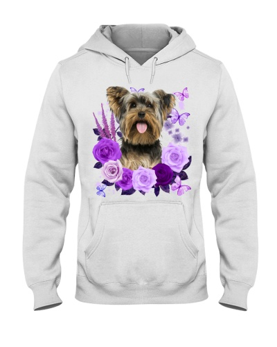 Yorkshire Terrier Purple Flower Face
