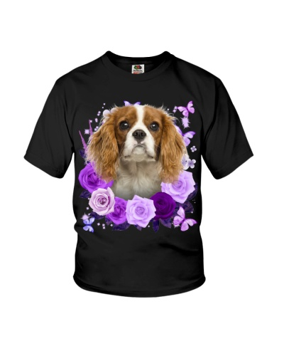 Cavalier King Charles Spaniel Purple Flower Face