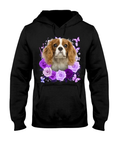 Cavalier King Charles Spaniel Purple Flower Face