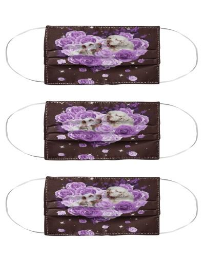 Clumber Spaniel Purple Flower Heart Face
