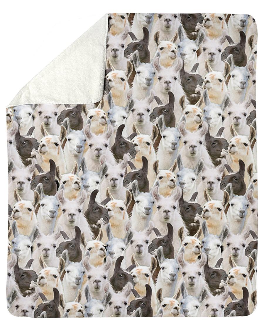 "Llama Full Face Sherpa Fleece Blanket - 50"" x 60"""