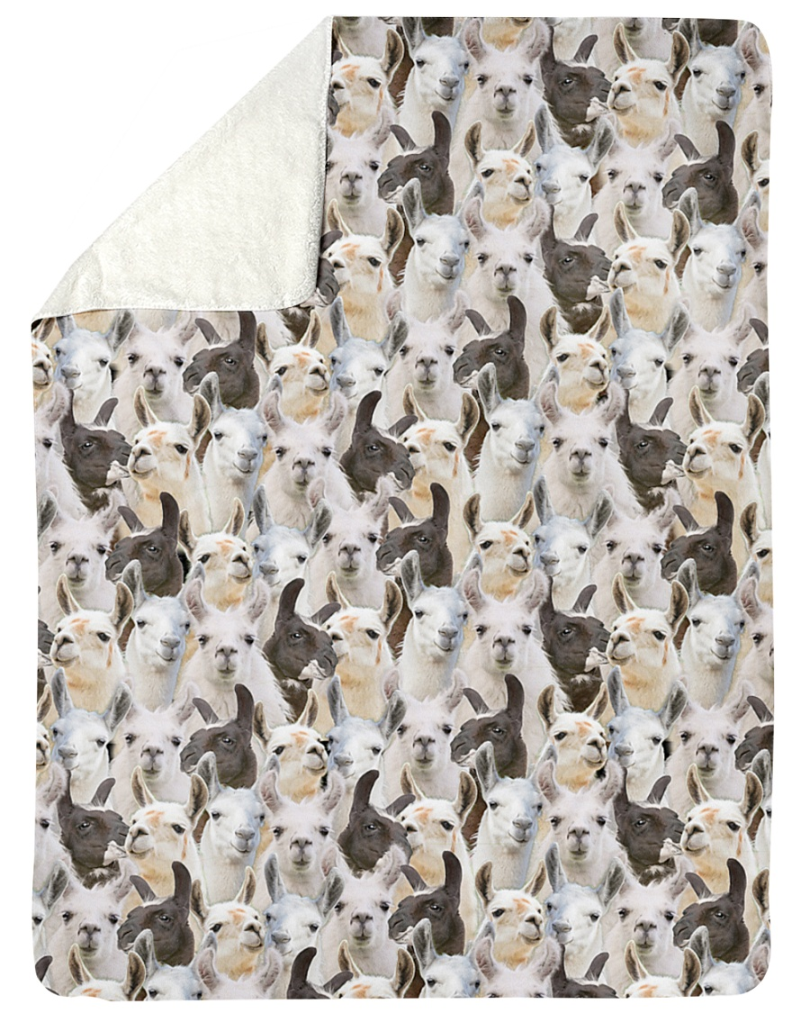 "Llama Full Face Large Sherpa Fleece Blanket - 60"" x 80"""