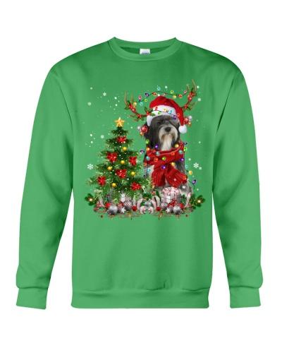 Tibetan Terrier-Reindeer-Christmas