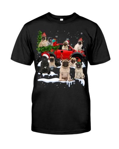 Pug-Christmas Car