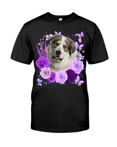 Great Pyrenees-Purple Flower