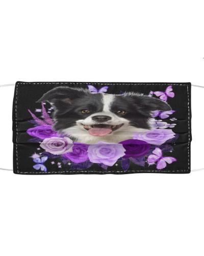 Border Collie Purple Flower Face