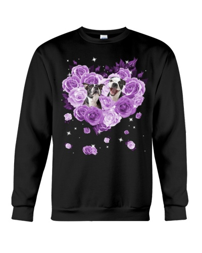 Boston Terrier Purple Flower Heart Face
