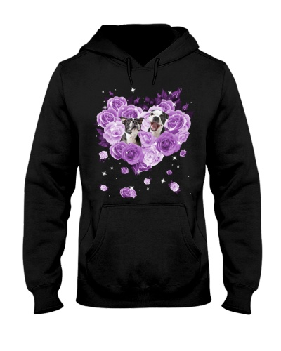 Boston Terrier Purple Flower Heart Face