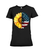 FLAG-SUN FLOWER Premium Fit Ladies Tee thumbnail