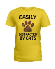 EASILY DISTRACTED BY CATS Ladies T-Shirt thumbnail