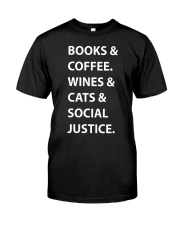 BOOKS AND COFFEE - WINES AND CATS Classic T-Shirt thumbnail