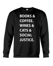 BOOKS AND COFFEE - WINES AND CATS Crewneck Sweatshirt thumbnail