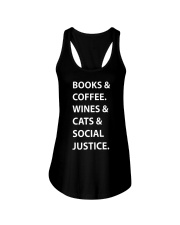 BOOKS AND COFFEE - WINES AND CATS Ladies Flowy Tank thumbnail