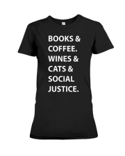 BOOKS AND COFFEE - WINES AND CATS Premium Fit Ladies Tee thumbnail