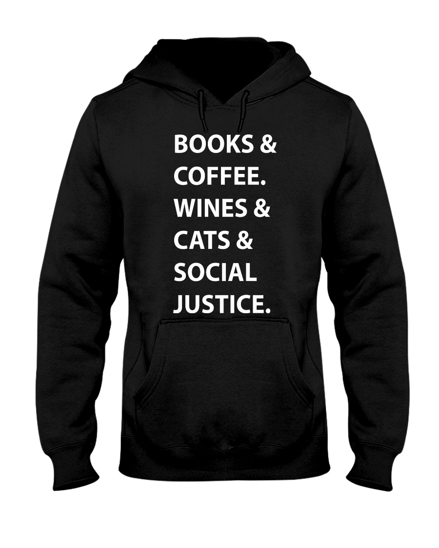 BOOKS AND COFFEE - WINES AND CATS Hooded Sweatshirt