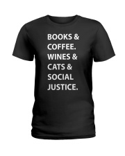 BOOKS AND COFFEE - WINES AND CATS Ladies T-Shirt thumbnail