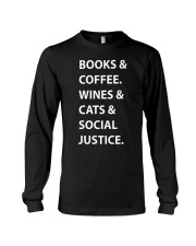 BOOKS AND COFFEE - WINES AND CATS Long Sleeve Tee thumbnail