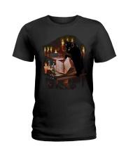 black cat book  Ladies T-Shirt thumbnail