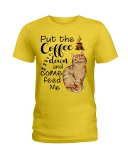 COFFEE DOWN-CAT Ladies T-Shirt tile