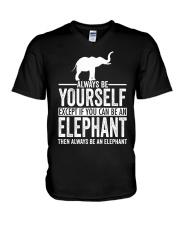 ALWAYS BE YOURSELF-ELEPHANT V-Neck T-Shirt thumbnail