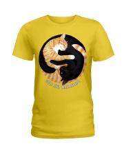 BLACK-YELLOW CAT Ladies T-Shirt thumbnail