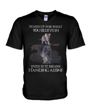 STAND UP FOR WHAT YOU BELIEVE IN - CAT V-Neck T-Shirt thumbnail