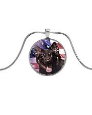 German Shepherd Metallic Circle Necklace thumbnail